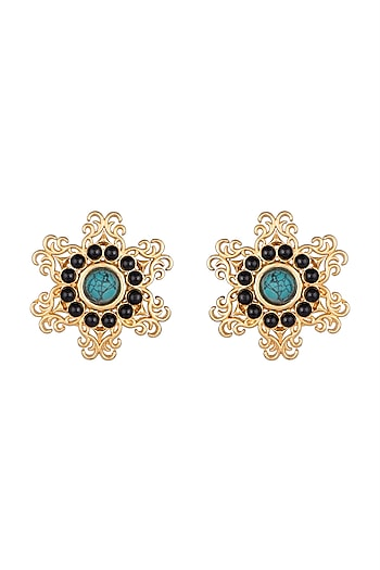 Gold Finish Black Onyx & Turquoise Stone Earrings by Paroma Popat