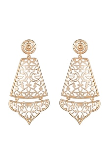 Gold Finish Jaali Worked Earrings by Paroma Popat