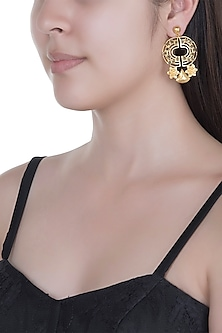 Gold Finish Enameled Earrings by Paroma Popat