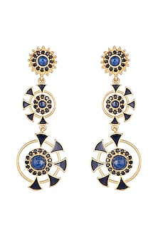 Gold Finish Enameled Lapis & Cubic Zirconia Earrings by Paroma Popat