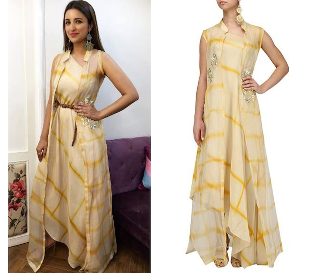 Beige and Yellow One Shoulder Top and Jacket Set by Anoli Shah