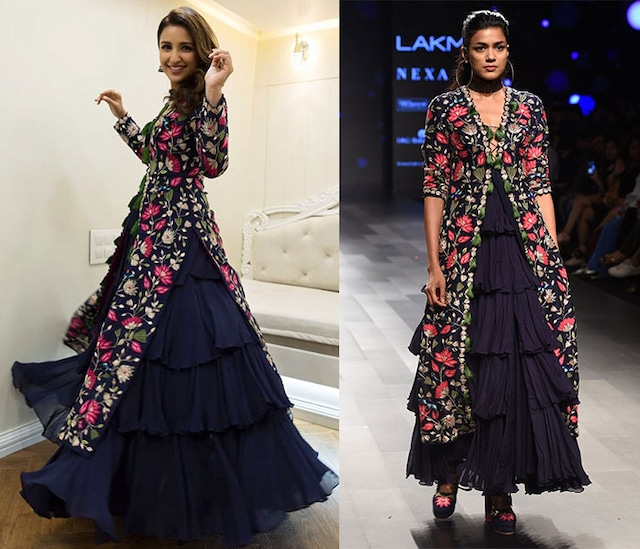 Midnight Blue Ruffle Gown and Embroidered Jacket by Arpita Mehta