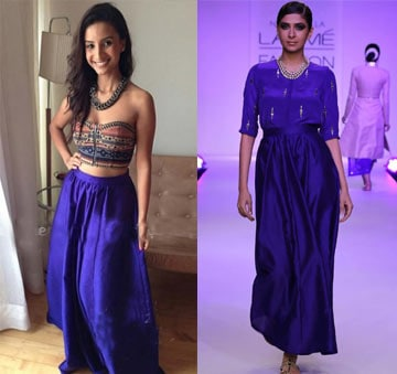 Cobalt Blue Embroidered Blouse with Gathered Skirt by Neeta Lulla