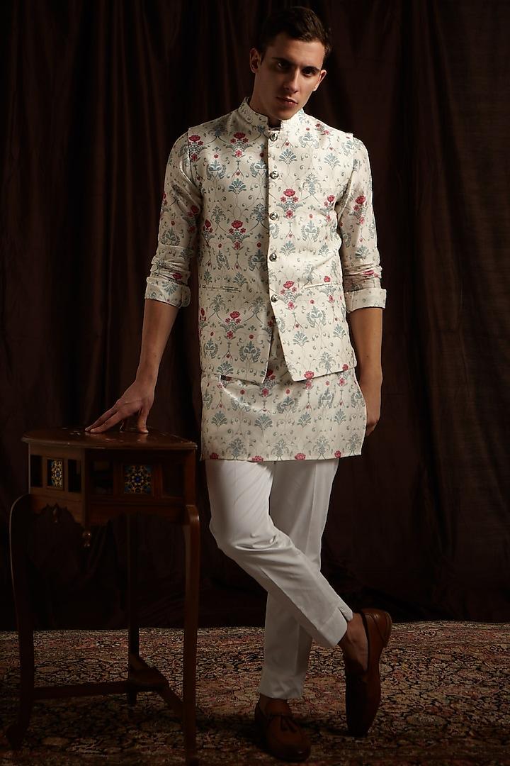 Blue & Pink Printed Kurta Set With Jacket by Project Bandi