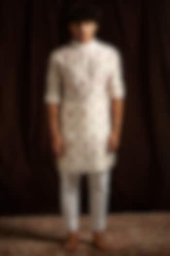Khaki, White & Pink Printed Kurta Set by Project Bandi