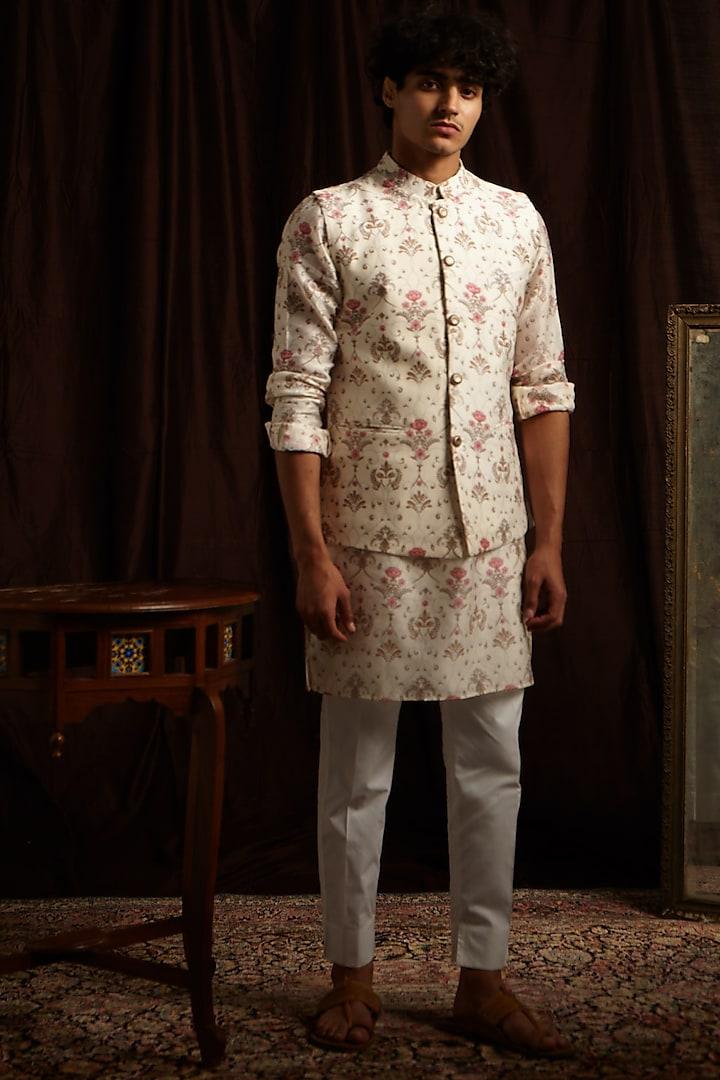 Khaki, White & Pink Printed Kurta Set With Jacket by Project Bandi