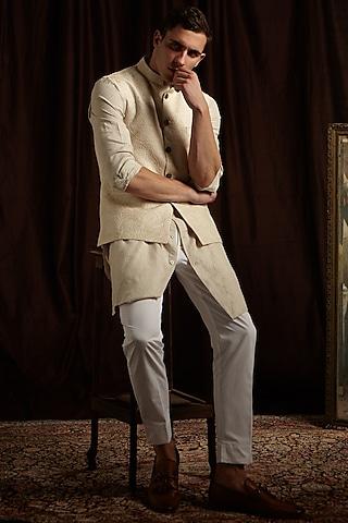 Khaki, White & Pink Printed Jacket by Project Bandi