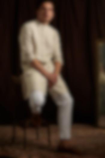 Beige & Off-White Linen Kurta Set by Project Bandi