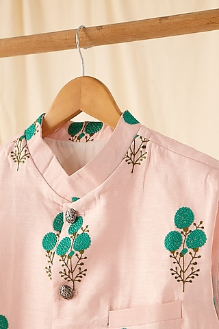 Light Pink Embroidered Jacket by Project Bandi