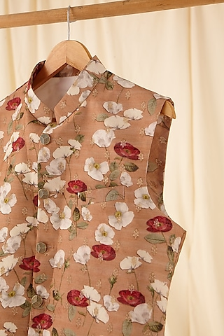 Gold Floral Printed Jacket by Project Bandi