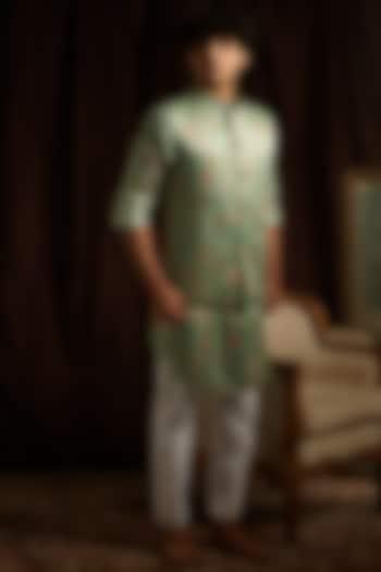 Jade Green & Off-White Printed Kurta Set With Jacket by Project Bandi