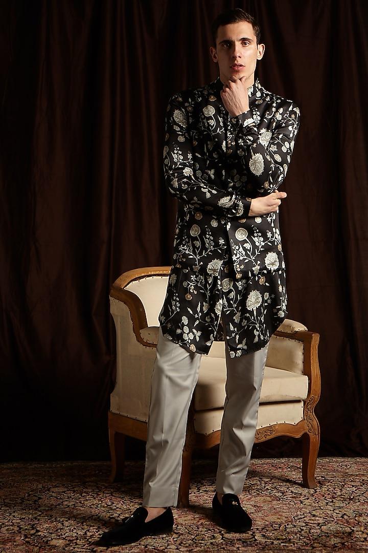 Black & Grey Printed Kurta Set With Jacket by Project Bandi