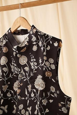 Black Printed Jacket by Project Bandi