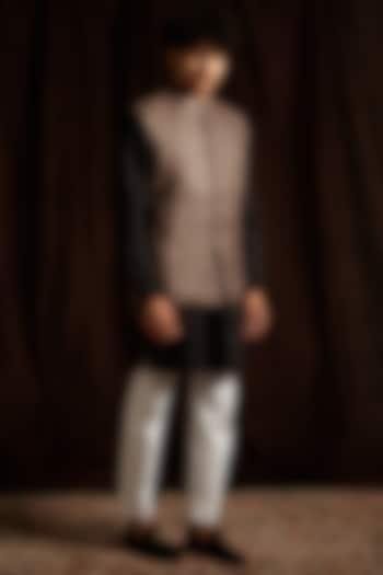 Grey Silk Printed Jacket by Project Bandi