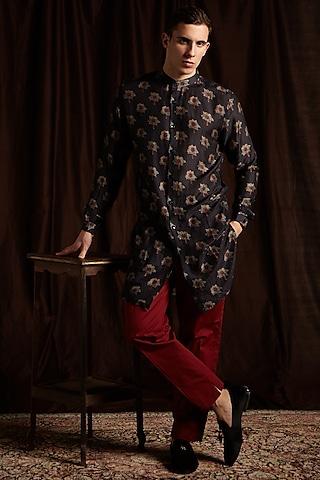 Black & Maroon Cotton Printed Kurta Set by Project Bandi