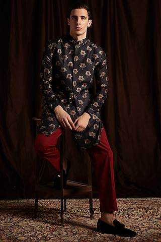 Black & Maroon Cotton Printed Kurta Set With Jacket by Project Bandi