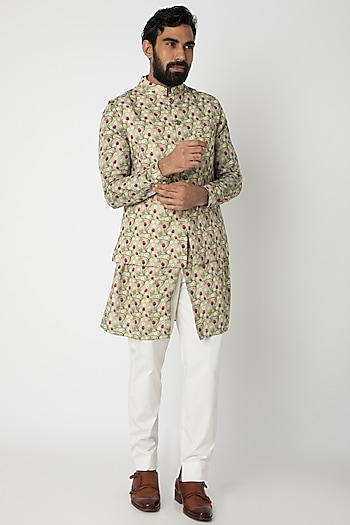 Mint Green Printed Kurta Set With Nehru Jacket by Project Bandi