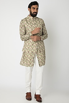 Mint Green Printed Kurta Set With Nehru Jacket by Project Bandi