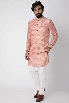 Peach Printed Kurta Set With Nehru Jacket by Project Bandi