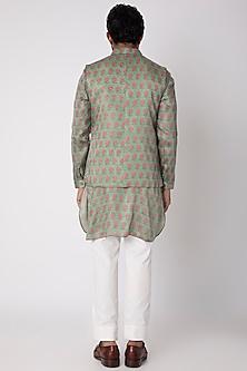 Mehendi Green Printed Kurta Set With Nehru Jacket by Project Bandi