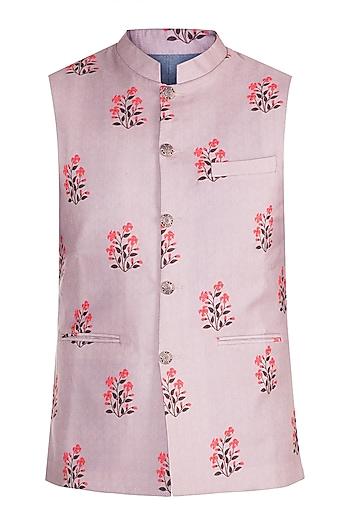 Mauve Printed Bundi Jacket by Project Bandi