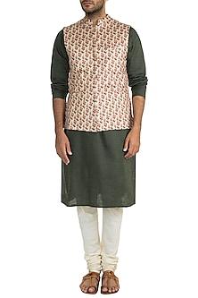 Beige Floral Printed Bundi Jacket by Project Bandi