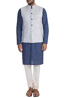 White Striped Bundi Jacket by Project Bandi