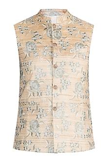 Gold & Beige Embroidered Bundi Jacket by Project Bandi