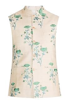 Cream Embroidered Bundi Jacket by Project Bandi