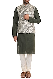 Cream & White Printed Bundi Jacket by Project Bandi