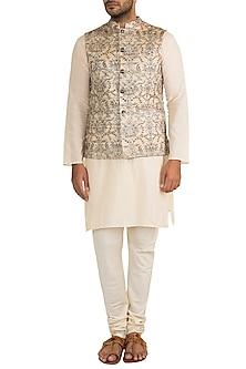 Cream & Gold Embroidered Bundi Jacket by Project Bandi