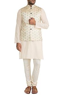 Cream & Gold Butti Embroidered Bundi Jacket by Project Bandi