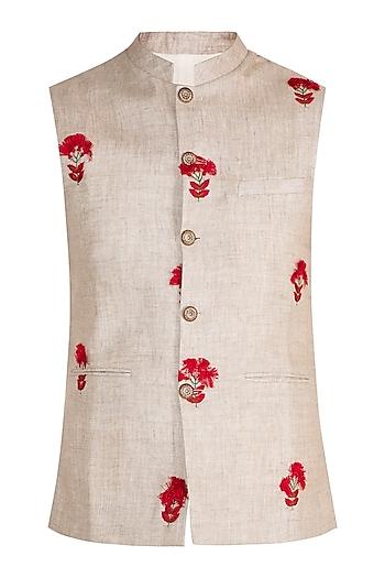 Natural White & Cream Tassled Bundi Jacket by Project Bandi