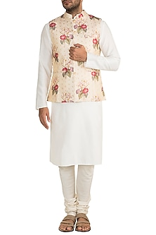 Cream Embroidered Printed Bundi Jacket by Project Bandi
