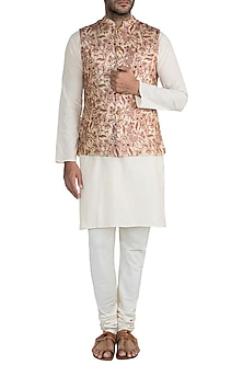 Gold & Beige Embroidered Bundi Jacket by Project Bandi