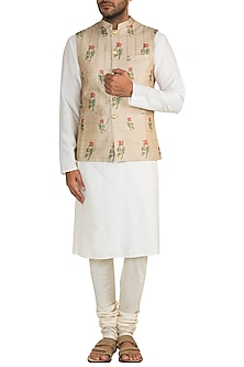 Gold & Beige Embroidered Bandi Jacket by Project Bandi