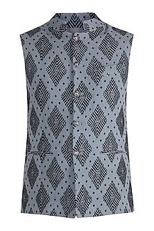 Grey Woven Bundi Jacket by Project Bandi