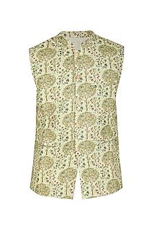 Pistachio Green Printed Bundi Jacket by Project Bandi