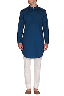 Navy Blue & White Kurta Set by Project Bandi