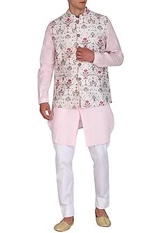 White Printed Bundi Jacket by Project Bandi