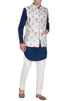 White Printed Mul Bundi Jacket by Project Bandi