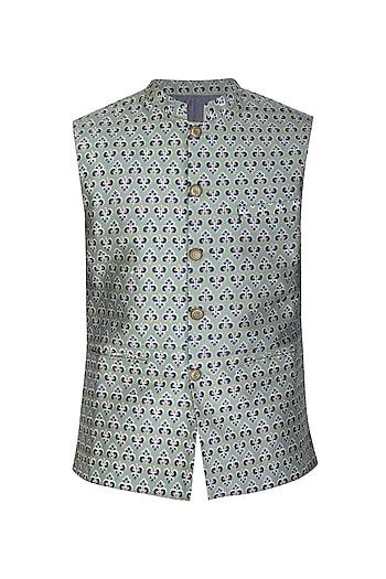 Sage Green Printed Bundi Jacket by Project Bandi