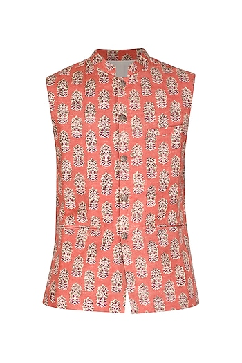 Orange Block Printed Bundi Jacket by Project Bandi