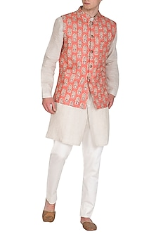 Orange Block Printed Bundi Jacket by Project Bandi