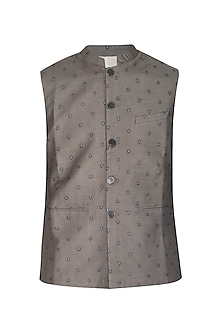 Dark Grey Embroidered Bundi Jacket by Project Bandi