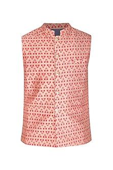 Beige Printed Bundi Jacket by Project Bandi