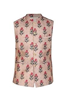 Mauve Printed Embroidered Bundi Jacket by Project Bandi