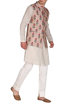 Mauve Printed Embroidered Bundi Jacket by Project Bandi