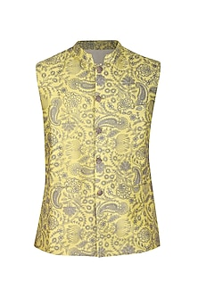 Lemon Yellow Embroidered Bundi Jacket by Project Bandi