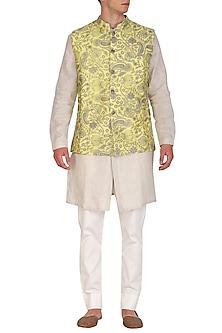 Lemon Yellow Embroidered Bundi Jacket by Project Bandi